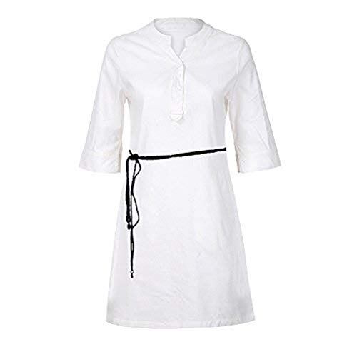 Clearance Sales,DEATU Womens Dresses Ladies Casual Long/Half Sleeve Buttons V Neck Shirt Dresses with Pocket(White -
