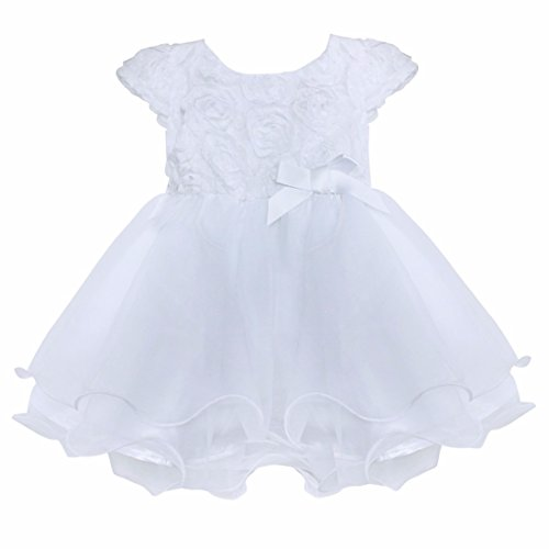 Baby White Dress (FEESHOW Infant Baby Girls' Organza Layered Christening Baptism Flower Dress White 0-3 Months)