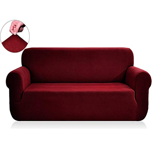 (Ranferuyk Polar Fleece Fabric Universal Sofa Cover Stretch Pattern Checked Sofacovers Washable Removable Couch Covers Slipcovers Loveseat Wine AB 190-230cm)