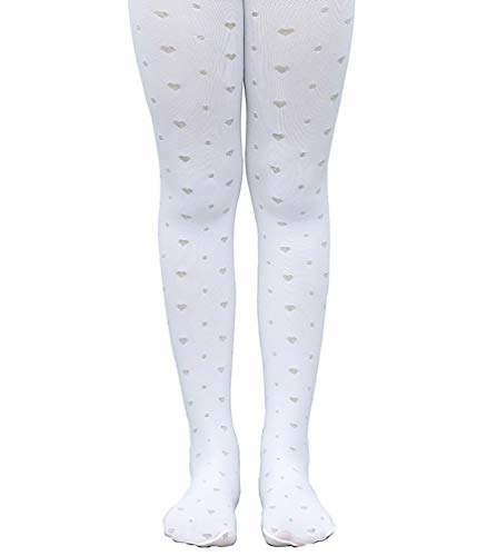 ROEFIM Ultra Soft Footed Tights for School Uniform Girls Fashion Design Tights With Sweet Hearts (Toddler/Little Kid/Big Kid) ()