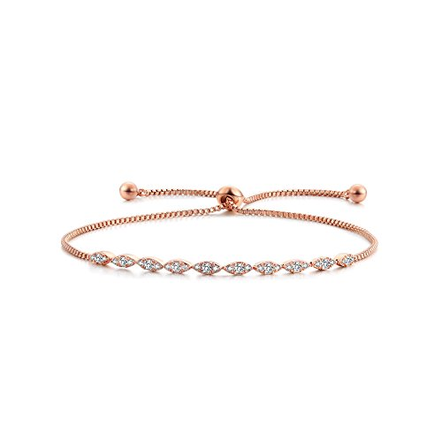 DIFINES Redbarry Marquise Shaped CZ Diamond Paved 18k Rose Gold Plated Adjustable Bracelet for Women Girls Valentine Day Gifts