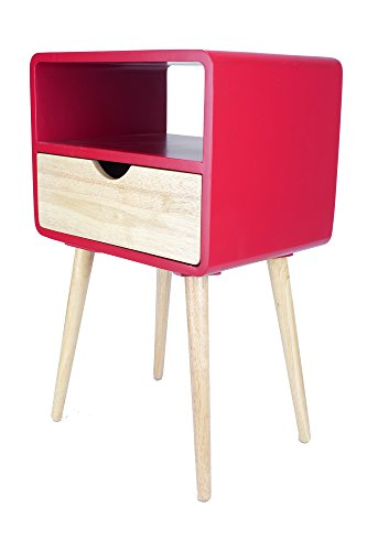 Heather Ann Creations W22378-RED Euro Collection Modern 1-Drawer and Open Shelf End Table, Red