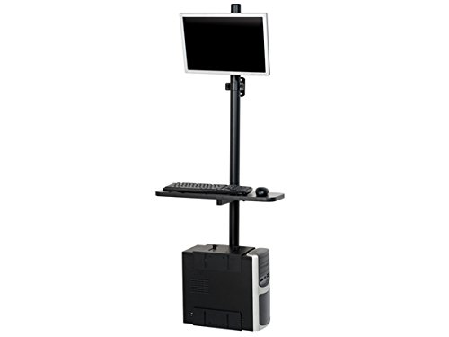 - Black Sentry Floor Mount Computer Workstation - Adjustable Pole-Mounted Desk with Keyboard Tray, Monitor Mount and CPU Holder
