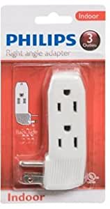 Philips indoor right angle adapter 3 outlet electrical power multiplier home - Electrical outlet multiplier ...