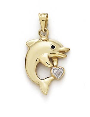 Grand Pendentif Coeur 14 Carats Dauphins-JewelryWeb