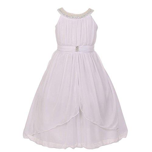 Kiki Kids Big Girls White Bejeweled Yoke Neck Matte Jersey Junior Bridesmaid Dress 8 from Kiki Kids