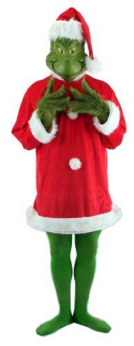 Dr. Seuss Santa Grinch Costume Adult with Mask and Gloves XXL