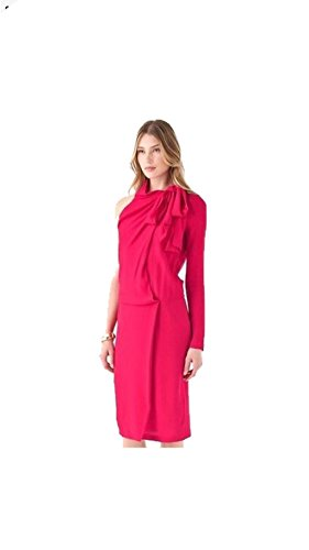 DIANE von FURSTENBERG Rosy Red Runway Celebrity Bowman Crepe Dress