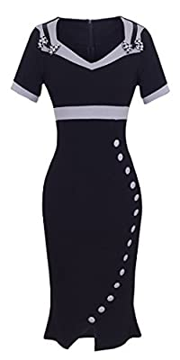 HOMEYEE Women's Elegant Sweetheart Neck High Waist Career Dress UB220