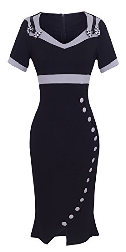 ant Sweetheart Neck High Waist Career Dress UB220 (10, Black) ()