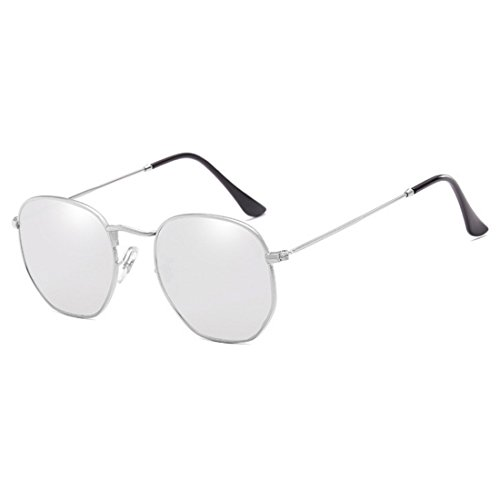 del Y protectoras moda polígono de Huicai de lentes de UV400 las del Plateado de Gafas sol sol Blanco de Mercurio la moda marco metálico Gafas irregulares 7xapTq7