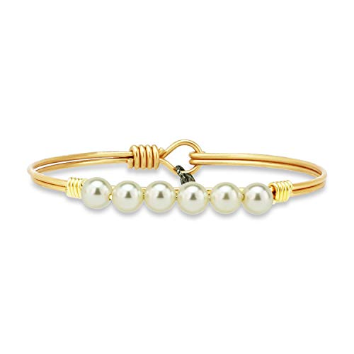 Luca + Danni Crystal Pearl Bangle Bracelet in Classic White - Regular/Brass Tone