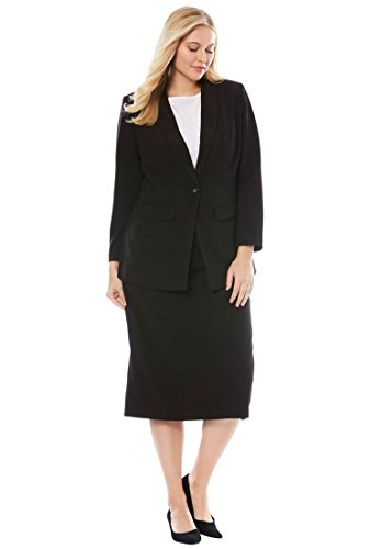 Jessica London Women's Plus Size Tall Single-Breasted Skirt Suit - Black, 18 W