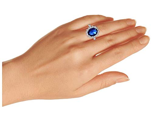 Bling Jewelry 5CT Royal Blue Oval Cubic Zirconia Simulated Sapphire CZ Crown Halo Engagement for Women Thin Band Silver Plated Brass