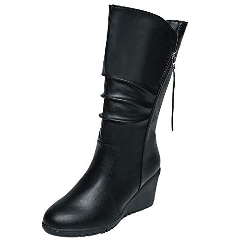 065bf2556ce60 Hunzed Women Boots Wedge Leather Waterproof Plus Velvet Round Head Side  Zipper High Heel Girl's Boots (Black, 9)