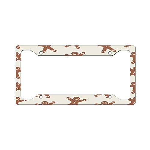 Custom Gingerbread - Custom License Plate Frame Gingerbread Cookie Seamless Pattern Aluminum Cute Car Accessories Wide Top Design Only One Frame