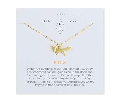 Dainty Wild Fox Spirit Animal Charm Pendant Necklace Gift for Women - 16