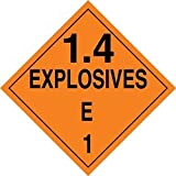Accuform Signs MPL130VP100 Plastic Hazard Class 1/Division 4E DOT Placard, Legend ''1.4 EXPLOSIVES E 1'', 10-3/4'' Width x 10-3/4'' Length, Black on Orange (Pack of 100)
