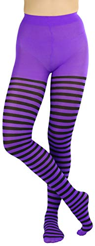 Black and purple striped hosiery that