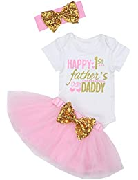 2ed18f635c86d Happy 1st Fathers Day Baby Girl Outfit Letter Print Rompers+Tutu Dresses + Headband 3PCS