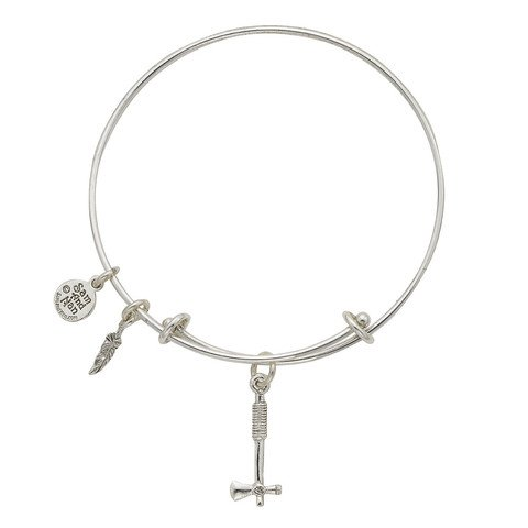 Sam and Nan Tomahawk and Feather Charm Expandable Bangle Bracelet Sterling Silver Finish. Handmade in USA..