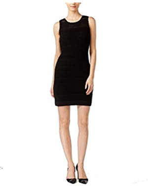 Calvin Klein Women's Large Petite Sheath Crochet Dress Black PL