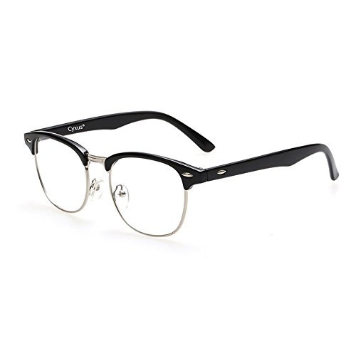 Cyxus Blue Light UV Blocking Computer Glasses, Anti Eye Strain Eyewear (8056T01, Browline Frame)