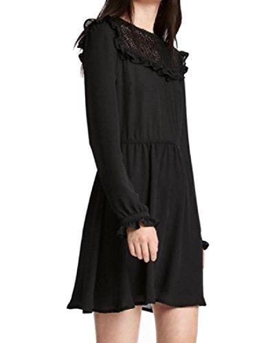 Chiffon Women Big Solid Flounced Pendulum Breathable Dress Party Sleeve Long Black Coolred A7wTaqxYx
