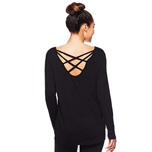 Gaiam Womens Long Sleeve Yoga & Workout T Shirt - Activewear Top w/Open Back Detail