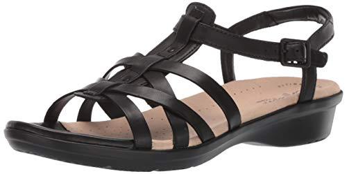 CLARKS Women's Loomis Katey Sandal, Black Leather, 090 W US
