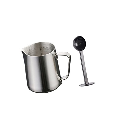 MonkeyJack 350ml Stainless Steel Coffee Frothing Milk Tea Latte Scale Jug With (Espresso Coffee Scoop)
