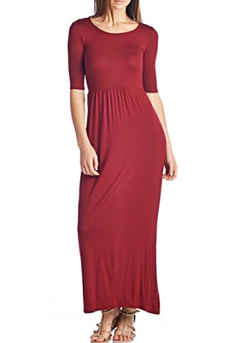 (82 Days Women's Casual 3/4 Sleeve Long Maxi Dress with Elastic Waist Made in USA - Wine S)