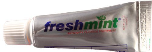 New World Imports TP6A Fresh mint Toothpaste, Unboxed, Metallic Tube, 0.6 oz. (Pack of 144) (Imports)