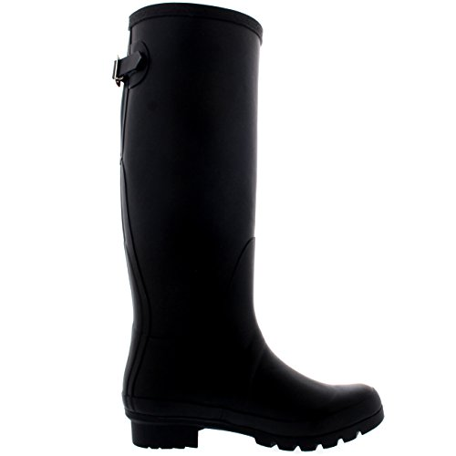 Black Wellington Tall Wellies Rain Back Womens 42 Winter CD0013 Adjustable Waterproof 11 Boots 0gzOEwCq