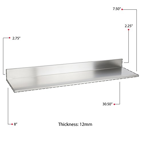 Stainless Steel Wall Mount Commercial and Home Use Premium Quality 30.50 Inches Kitchen Floating Shelves Set of 2 Silver by Fasthomegoods (Image #7)