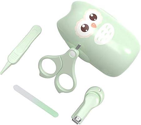 per Kit de uñas para bebés 4-en-1 Kit de Aseo para bebés con Estuche Lindo Corta uñas de bebé Tijera Lima de Pinzas Kit de Cuidado Infantil para bebés recién Nacidos y