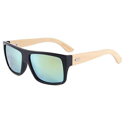 conducción de de con Las Lentes vidrios de Gafas Color bambú Color Cuadrado protección Oscuro Gafas sol de bambú Marron del Oro polarizadas Ultravioleta Brazo del la Retros wzpwq68