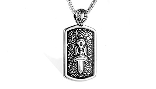 Easter gifts creative accessories dog tag items decorated domineering titanium steel men swords (White) (Dog Pendant Sword Tag)