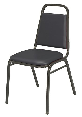 KFI Seating IM810 Armless Stacking Chair, Commercial Grade, 1.5-Inch, Black Vinyl/Black Frame, Made in the USA by KFI Seating