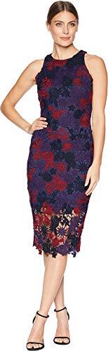 Alexia Admor Women's Floral Lace Midi Dress Multi Berry X-Small