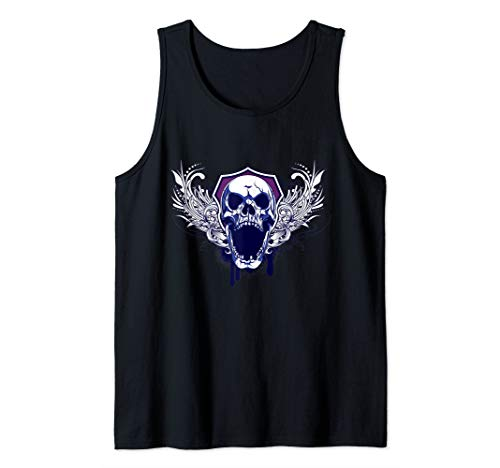 Angry Scary Skull Shirt Flying Biker Tattoo Skeleton Gift  Tank Top