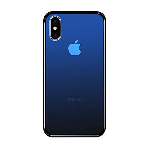 Aurora Color Gradient Tempered Glass Case Compatible with iPhone Xs Max (6.5 in) by Gorilla Gadgets, 9H Tempered Glass Back, Scratch Resistant, Shock Absorption Protective Case (iPhone Xs Max, Blue)