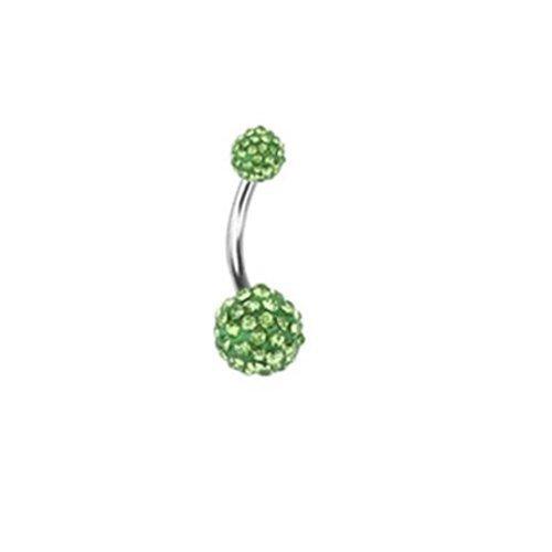 Piercing nombril Multi Ferido 8 Couleurs (épaisseur en mm: 1,6; Largeur en mm: 10; Dimensions de la boule En mm: 4 x 6) vert