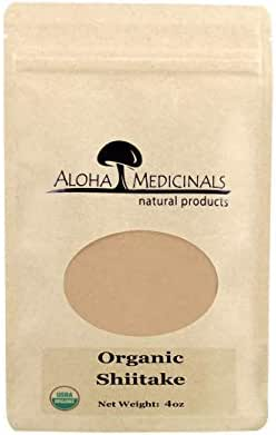 Aloha Medicinals - Pure Shiitake - Certified Organic Mushrooms – Lentinula Edodes – Health Supplement – Supports Cardiovascular, Skin and Brain Function - 4oz Bag (Powder)
