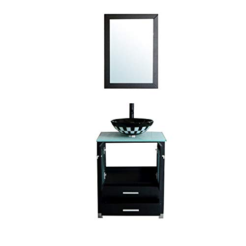 24' Wood Cabinet - BATHJOY 24'' Modern Wood Bathroom Vanity Cabinet Round Tempered Glass Vessel Sink Bowl Faucet Drain Combo Design with Mirror