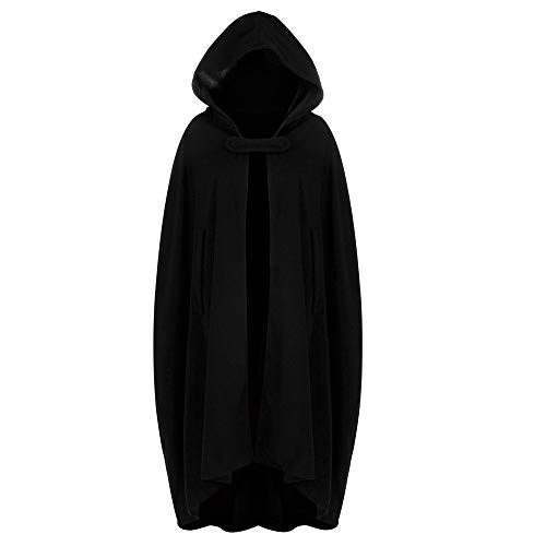 Halloween Cosplay Costumes Party Capes Unisex Christmas Day Hooded Cloak Medieval Cape (Black B, L)]()