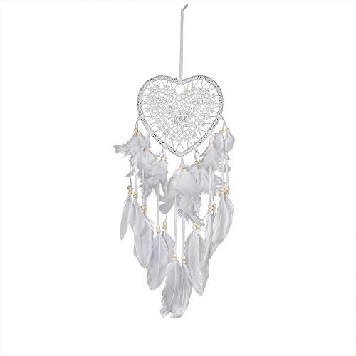 BBB&LIU Handmade Lace Dream Catcher Feather Bead Hanging Decoration Ornament Gift White Craft Dreamcatcher Wind Chimes Art Pendant,White