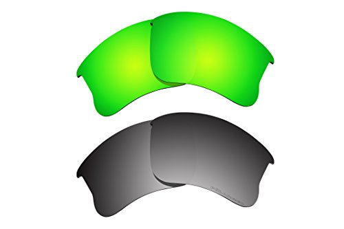 2 Pairs BVANQ Polarized Lenses Replacement for Oakley Flak Jacket XLJ Sunglasses - Flak Only Jacket Frame Xlj