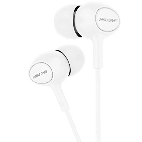 Earbuds with Mic, MIATONE Wired in- Ear Earphones Headphones HD Stereo Ear Buds with 3.5mm Jack - White