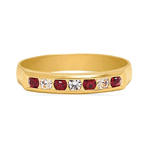 My Jewelry Spot Endless Eternity 14Kt Yellow Gold Filled Band Red & Clear Gemstones Ring (8) ()